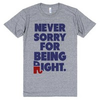 Never Sorry-Unisex Athletic Grey T-Shirt