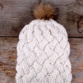Women's Chunky Knit Hat with Basket Weave Cables in Cream with Faux Fur Pom Pom, Pom Pom Hat, Slouchy Beanie, Cable Knit Hat, Hat with Pom