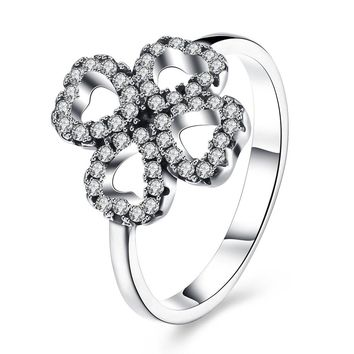Sterling Silver Pandora Inspired Pave Clover Ring