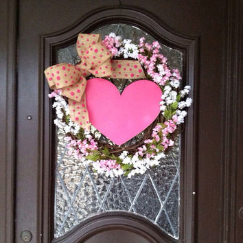 Valentines Wreath, Valentines Day Wreath, Pink Valentines Day Wreath, Spring Wreath, Pink and White Wreath, Flower Wreath