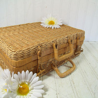 Vintage Hand Woven Wicker Suitcase - Retro Crafted Bamboo Picnic Lunch Hamper - Shabby Chic Carry All - Nature Inspired Gift Card Box