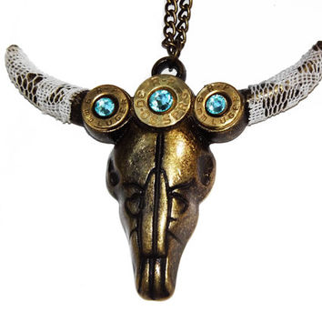 Bullet jewelry cow skull necklace bronze gun necklace brass bullet bull skull country wedding western texas cowgirl longhorn steer southern