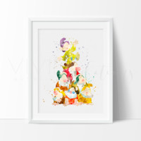 Seven Dwarfs, Snow White Watercolor Art Print