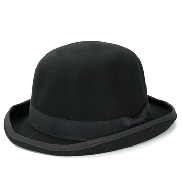 Paris fashion Men Wool Jazz Hat Dome Floppy Brim Fedora Hat Black Grey Vintage Dress Casual Male Winter Warm Bowler Hat Cap