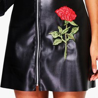 Evie Floral Embroidered Leather Look Mini Skirt