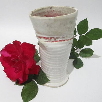 Flower Vase, OOAK Ceramic Vase, Ikebana Vase, Red and White Pottery Vase