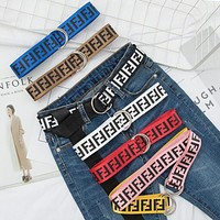FENDI Fashion Women Men Canvas Double Buckle FF Letter Belt Waist Belt Multicolor I13345-1