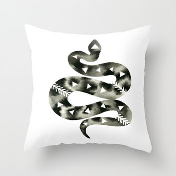 Pillow with Insert . Snake Pillow . Geometric Desert Art . Watercolor Print on White Pillow . Modern Decor