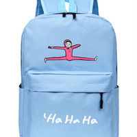Cute Pastel Blue Jumping Man Canvas Backpack