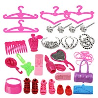 BBGUN001- 42Pcs /Lot Shoes Fashion Doll Shoes+Crown+Hanger Accessories for Barbie Dolls Clothes BJD Dolls DIY Accessories