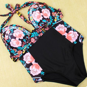 Fashion high waist print Swimwear Swimsuit Bikini