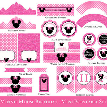 Minnie Mouse Party Mini Set - Minnie Mouse Party Printables - Minnie Mouse Birthday - 2nd Birthday - INVITATION NOT INCLUDED