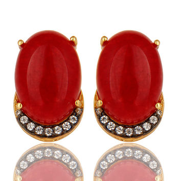 18K Gold Plated Sterling Silver Red Onyx Gemstone Stud Earrings With CZ