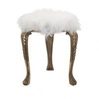 Wake Up Frankie - White Faux Fur Stool : Teen Bedding, Pink Bedding, Dorm Bedding, Teen Comforters