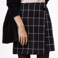 Windowpane Wrap Skirt | LOFT