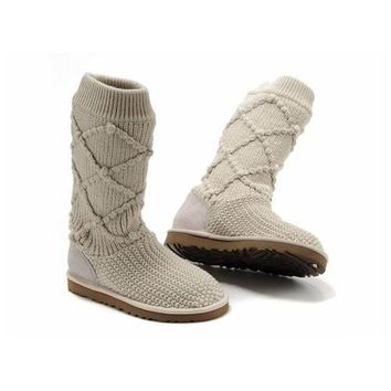Uggs Boots Black Friday Deals Knit Classic Argyle 5879 Cream For Women 95 33