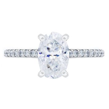 **NEW Skinny Oval Crushed Ice Moissanite 4 Prongs Diamond Accent Ice Cathedral Solitaire Ring