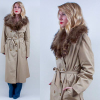 Vintage 70s Fox Fur Collar Trench Coat camel Oatmeal brown raincoat Maxi belted Double Breasted M