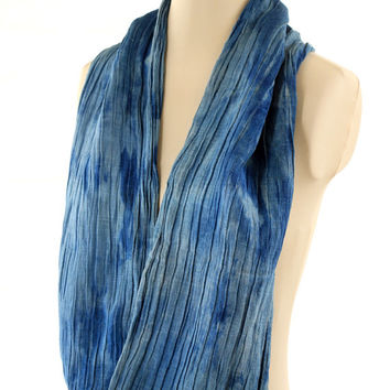 organic indigo wrap, blue naturally dyed shawl, hand dyed organic hemp silk blue infinity scarf, deep aqua sky blue scarf wrap, winter gift