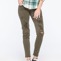 Tinseltown Distressed & Frayed Womens Skinny Jeans Olive  In Sizes
