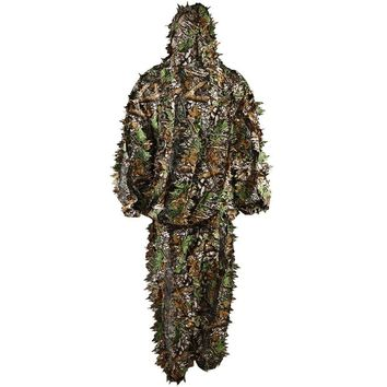 VILEAD Polyester Durable Outdoor Woodland Sniper Ghillie Suit Cloak Military 3D Camouflage Camo Clothes Jungle Hunting Birding