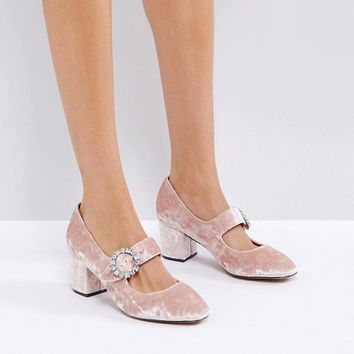 ASOS SUNSHINE Jewelled Buckle Mid Heels at asos.com