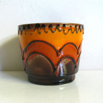 Vintage 1970s Pottery West German Dark Brown Orange Mid-Century Ceramic Planter