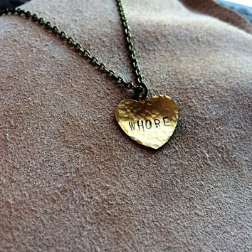 Mature Content - Whore - Rustic Hammered Stamped Handmade Heart Pendant Necklace - Funny Bachelorette Gift - Mature jewelry - Swear Word