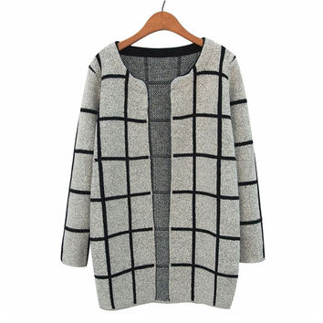 Winter Casual Coat Plaid Knit Sweater Jacket [8216404097]