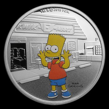 2019 Tuvalu 1 oz Silver The Simpsons Bart Proof