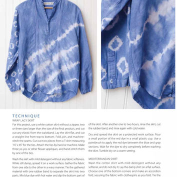S Shibori shirt Hand dyed linen top Blue tie dye blouse Upcycled vintage clothing Beach shirt Long sleeves azure shirt Altered Couture