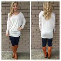 Cream Long Sleeve Modal Tunic Top