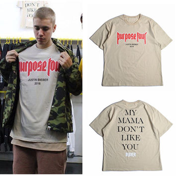 Justin Bieber Purpose Tour T-shirt Men Fear Of God Letter Print Casual Hip Hop Tshirt 2016 Summer Mens Tee Clothes Homme US Size