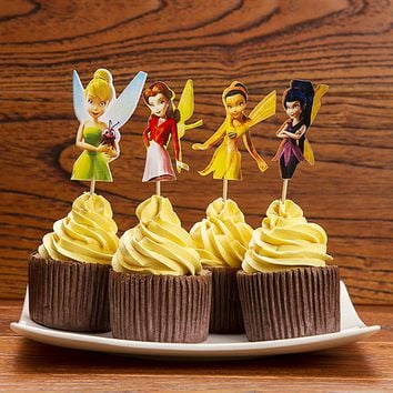 72pcs/Adorable vivid Flying Fairy Tinkerbell Cupcake Topper Picks,'birthday party decorations,evnent party favors
