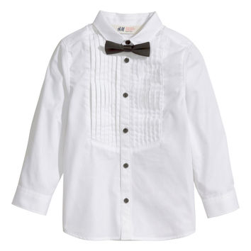 H&M - Tuxedo Shirt and Bow Tie - White - Kids