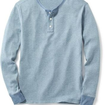 Old Navy Mens Two Tone Waffle Knit Henley