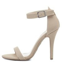 Single Sole Ankle Strap Heels by Charlotte Russe - Nude