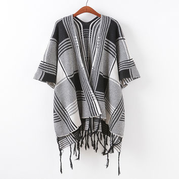 Knit Sweater Batwing Sleeve Tassels Scarf Jacket Sponge [9067785860]