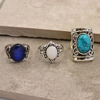 silver plated turquoise opal finger ring set