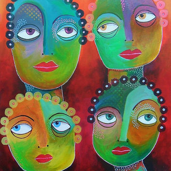Portrait Print - Colorful Faces - Abstract Face Print - Folk Art Faces - Hipster Art - Painting Of People - Contemporary Art - Childlike Art