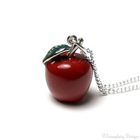 Snow White Fairy Tale Once Upon A Time Poison Red Apple Evil Queen Silver Pendant Charm Necklace Swarovski Crystal Accent