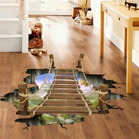 3D bridge floor wall sticker for living room