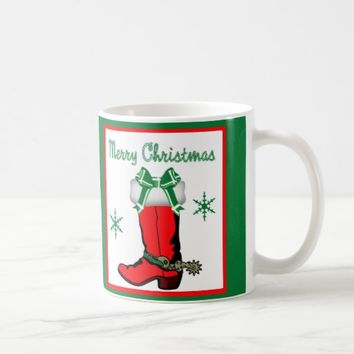 Western Christmas Red Cowboy Boot Coffee Mug