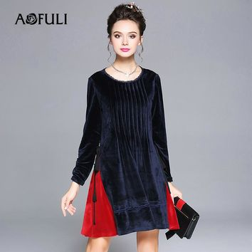 AOFULI L- XXXXL 5XL Plus size dress 2017 New Women Long sleeve Patchwork Loose Casual Autumn Winter Warm Velvet Dresses