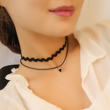 Joker Geometry Triangle Double Layers Necklace