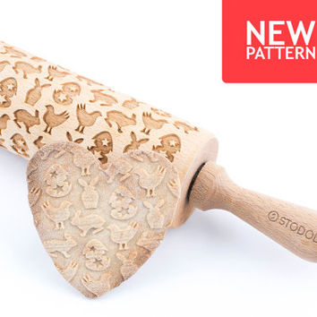 Easter pattern - Engraved rolling pin for cookies