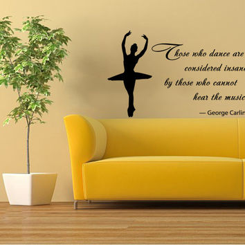 Quote About Dance Life Ballet with Dancer Ballerina Vinyl Decal Home Wall Decor Dance School Studio Stylish Sticker Unique Design Room V505