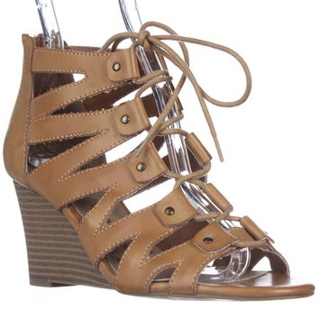 AR35 Carter Wedge Lace Up Gladiator Sandals, Brown, 8.5 US