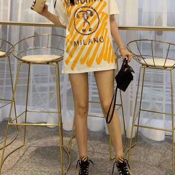 """""""MOSCHINO""""Woman's Leisure  Fashion Letter Printing Spell Color Loose Short Sleeve Tops"""