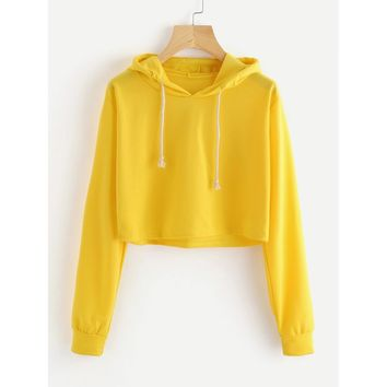 Drawstring Hooded Crop Sweatshirt Yellow